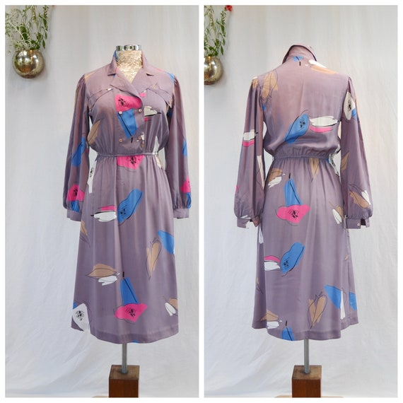 70's Fabulous Canadian Vintage Silky Glam Dress by Marjorie Hamilton - Abstract Art Nouveau on Muted Violet - Medium- US Canada 10 - AUS 14