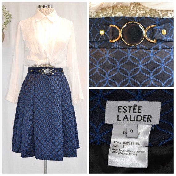 "Vintage Preppy Pleated Skirt by Estée Lauder- Classic Navy Satin Jacquard Uniform, Fully Lined - XS, 24"" Waist - AUS 8 - US 4"