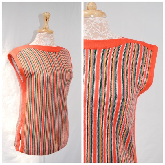 60s Mod Sleeveless Knit Tunic - Vintage Hippie Rainbow Sweater Vest - Primary Colours - Christmas Colors! - Small