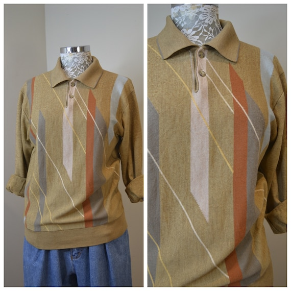 Golfers Delight 1980's Funky Mustard Pullover Jumper w/ Geometric Lines - Soft Thick Warm - Unisex One Size Fits Most