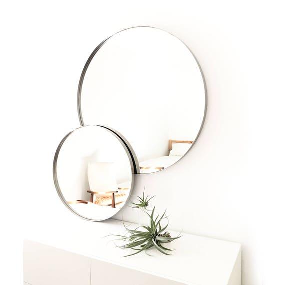 28 Großer Runder Wandspiegel Eingang Spiegel Badezimmerspiegel Große Runde Mitte Jahrhundert Modern Minimalistisch Gebürstetem Edelstahl