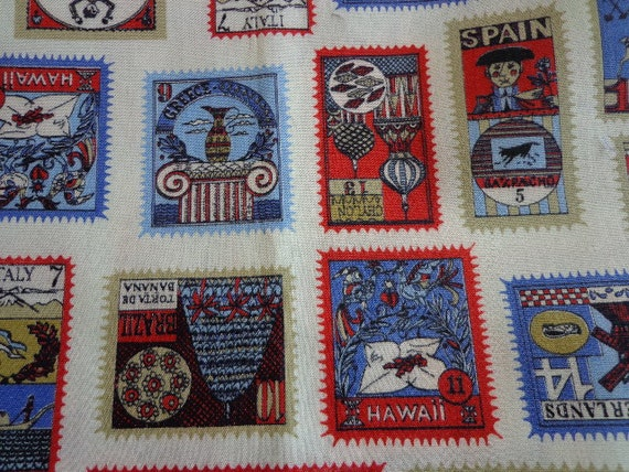 Vintage Fabric Postage Stamp Inspired