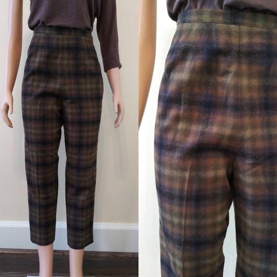 Vintage 1960's Pendleton brown plaid pants / sixti