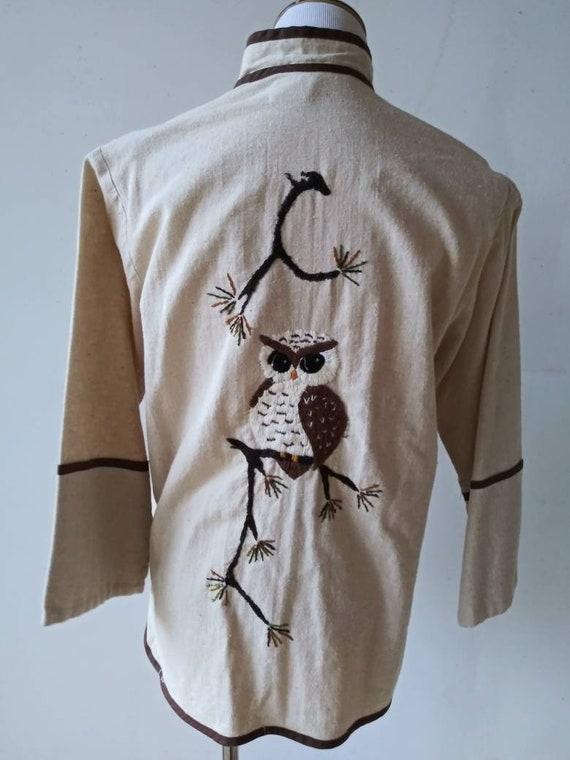Vintage 1960's 1970's/ embroidered owl nehru jacke