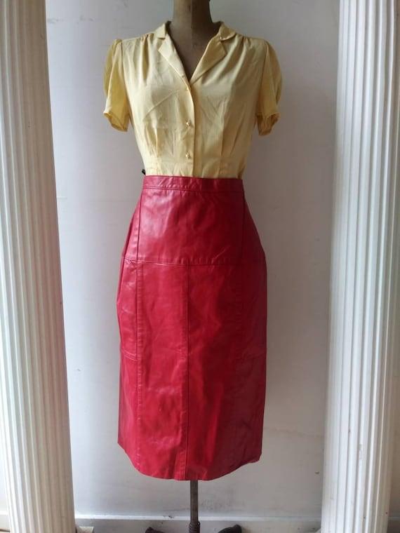 Vintage 1980's Chordas skirt / eighties red leathe