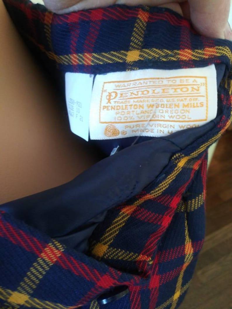 Vintage 1980/'s Pendleton skirt  eighties navy plaid skirt  28 waist