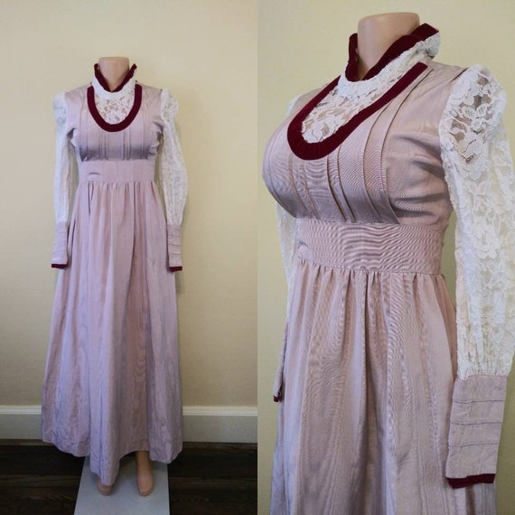 Vintage 1970's maxi with lace / 70's pink empire w