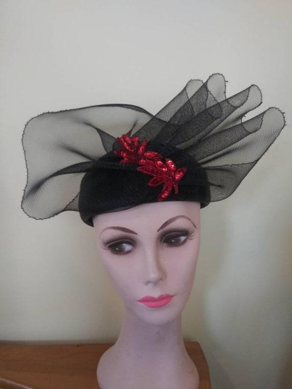 Vintage 1950's Elizabeth Hawkins hat / fifties fa… - image 1