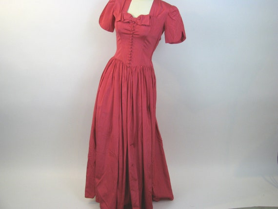 Vintage 1940's hot pink moire evening gown / forti