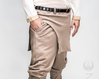 """NEW Men's """"Rogue"""" Harem Styled Apron Pants in Beige Khaki or Gray Heather Cotton Thermal Knit by Opal Moon Designs (Sizes S-XL)"""