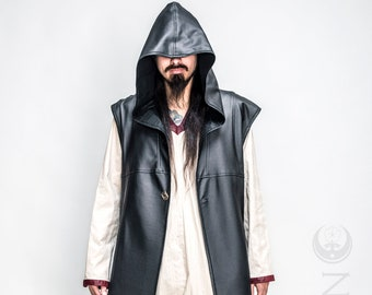"""NEW: Men's Black Matte Faux Leather """"Druid Duster"""" REVERSIBLE to Black or Red by Opal Moon Designs (Size S-XXL)"""