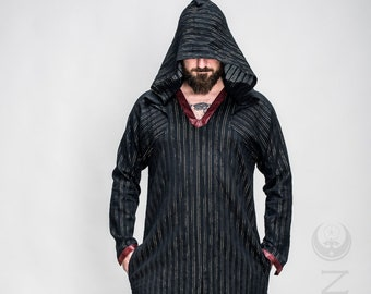 "NEW Men's LightWeight ""Sorcerer"" Kaftan Long Tunic in Black & Gold Stripe with Red Faux Leather Details by Opal Moon Designs (Size S-XL)"