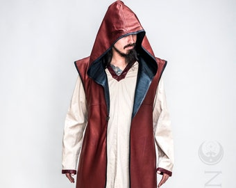 """NEW: Men's Rust Red Faux Leather """"Druid Duster"""" REVERSIBLE to Black by Opal Moon Designs (Size S-XXL)"""