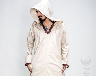 "NEW Men's HeavyWeight ""Sorcerer"" Kaftan Long Tunic in Beige with Red Faux Vegan Leather Details by Opal Moon Designs (Size S-XXL)"