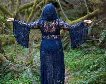 Limited Edition: The Lace Priestess Cloak Robe with Hood in Olive Green or Navy Blue by Opal Moon (Sizes XS - XXL)
