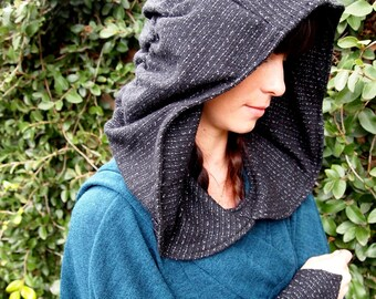 SALE LAST ONE: The Sweater Knit Ruched Hood in Soft Black Texture by Opal Moon Designs (One Size Fits all)