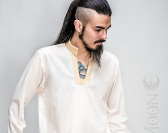 NEW Men's Knight's Tunic in Ivory, Black, or Navy Blue w/Faux Vegan Leather Collar & Cuffs with Gold Moons by Opal Moon Designs (Size S-XXL)