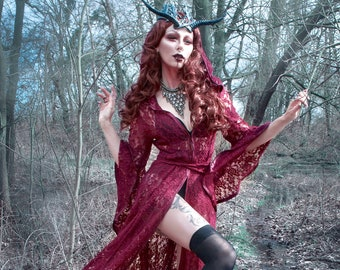 NEW Limited Edition: The Lace Priestess Cloak with Hood in Red by Opal Moon Designs (Sizes S-XXL)