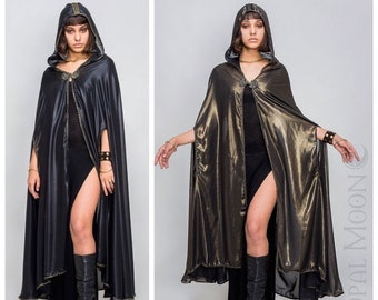 SALE Specialty: The Moroc Ritual Cloak in Two-Tone Black or Gold Sheen + Choose Your Trim by Opal Moon Designs (One Size)
