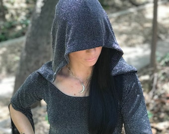 """NEW: The """"ChainMail Sparkle"""" Tunic Dress with Hood in Metallic Silver by Opal Moon Designs (size S-XXL)"""