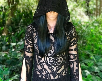 """NEW: The """"Black Queen"""" Tunic Dress with Hood in BLACK Baroque by Opal Moon Designs (size S-XXL)"""