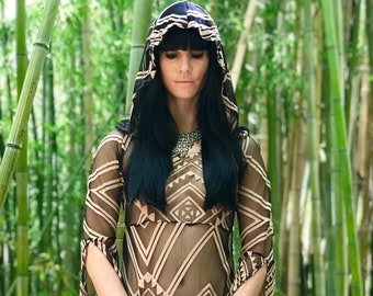 NEW: The Tribal Queen Tunic Dress with Hood by Opal Moon Designs (size S-XXL)