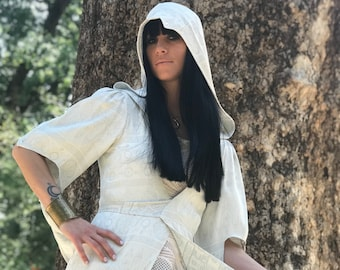 SPECIALTY: The Nomad Cloak with Hood w/ crystals in WHITE by Opal Moon Designs (Sizes S-3XL)