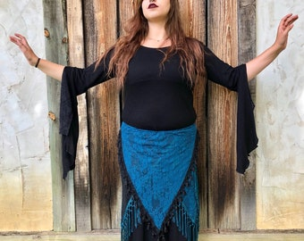 NEW: The Teal Blue Lace Asymmetrical Willow Skirts with Long Fringe or Tassel Trim (Adjustable)
