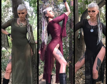 The Striped Panel Dress in Black, Sage Green, or Burgundy by Opal MoonDesigns (Sizes S- 3XL) Plus Size Available