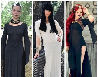 LAST SIZES: The Ivory, Charcoal Gray, or Black Panel Dress by Opal MoonDesigns (Sizes XS- 3XL) Plus Size Available