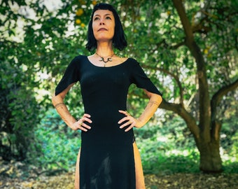 NEW FABRIC : The Faerie Sleeve Panel Dress in Black by Opal Moon (Sizes XS- 3XL)
