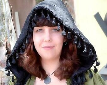 """The Hooded Tassel Vest in Black """"Diamonds"""" by Opal Moon Designs (Sizes S-XXL)"""
