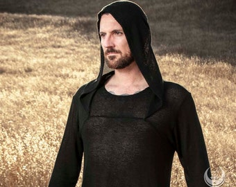 """LAST ONE'S: Men's """"ChainMail"""" Mesh Knit Hooded Tunic Top in Black by Opal Moon Designs"""