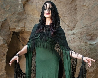 "Specialty: The ""Morticia"" Hooded Black Lace Cape with Long Fringe Trim by Opal Moon Designs (One Size)"
