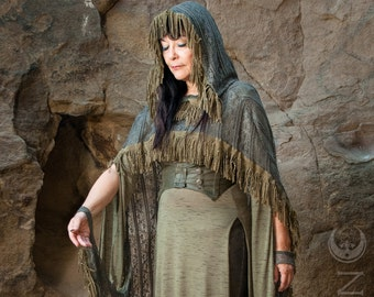 "Specialty: The ""Sage Woman"" Hooded Lace Cape with Suede Fringe Trim by Opal Moon Designs (One Size XS-XXL)"