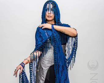 "NEW Specialty: The ""Gypsy Queen"" Royal Blue Hooded Lace Cape with Blue Long Fringe Trim by Opal Moon Designs (One Size)"