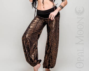 NEW: The Crescent Flare Harem Pants in Black and Metallic Copper Print by Opal Moon Designs (Size XS-XL)