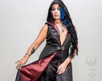"NEW: The Metallic Black ""DragonSkin"" REVERSIBLE to Red Opera Vest Hooded Long Dress by Opal Moon Designs (Size S-XL)"