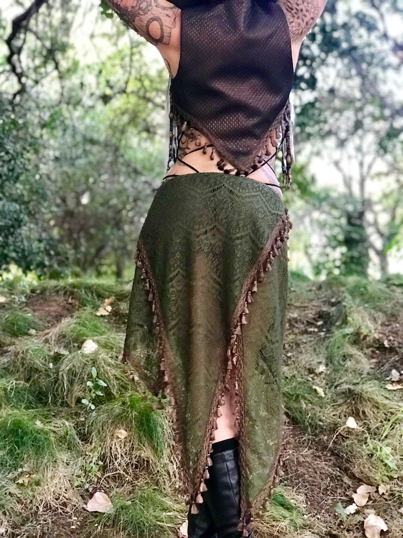 RESTOCKED: The Olive Green Crochet Lace Asymmetrical Willow image 0