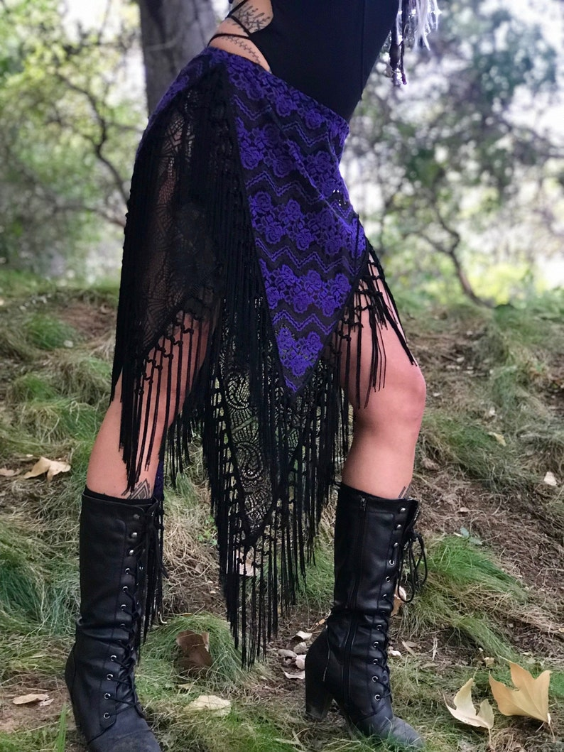 RESTOCKED: The Purple & Black Lace Asymmetrical Willow Skirt image 0