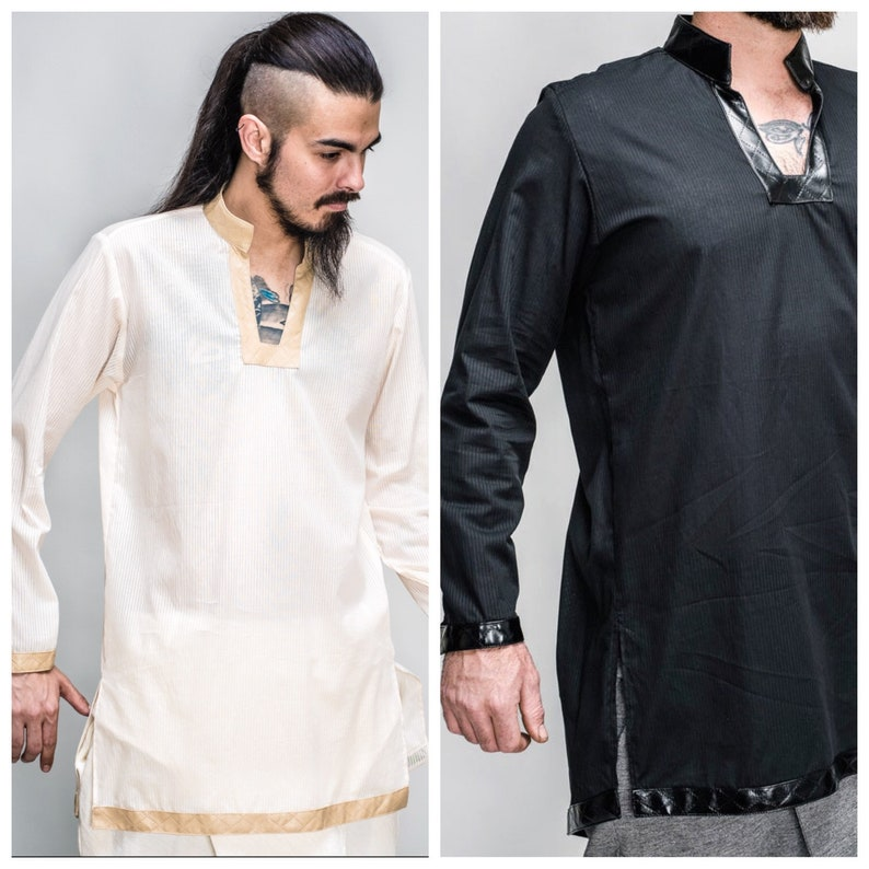 The Men's Knight's Tunic in Ivory or Black w/Faux image 0