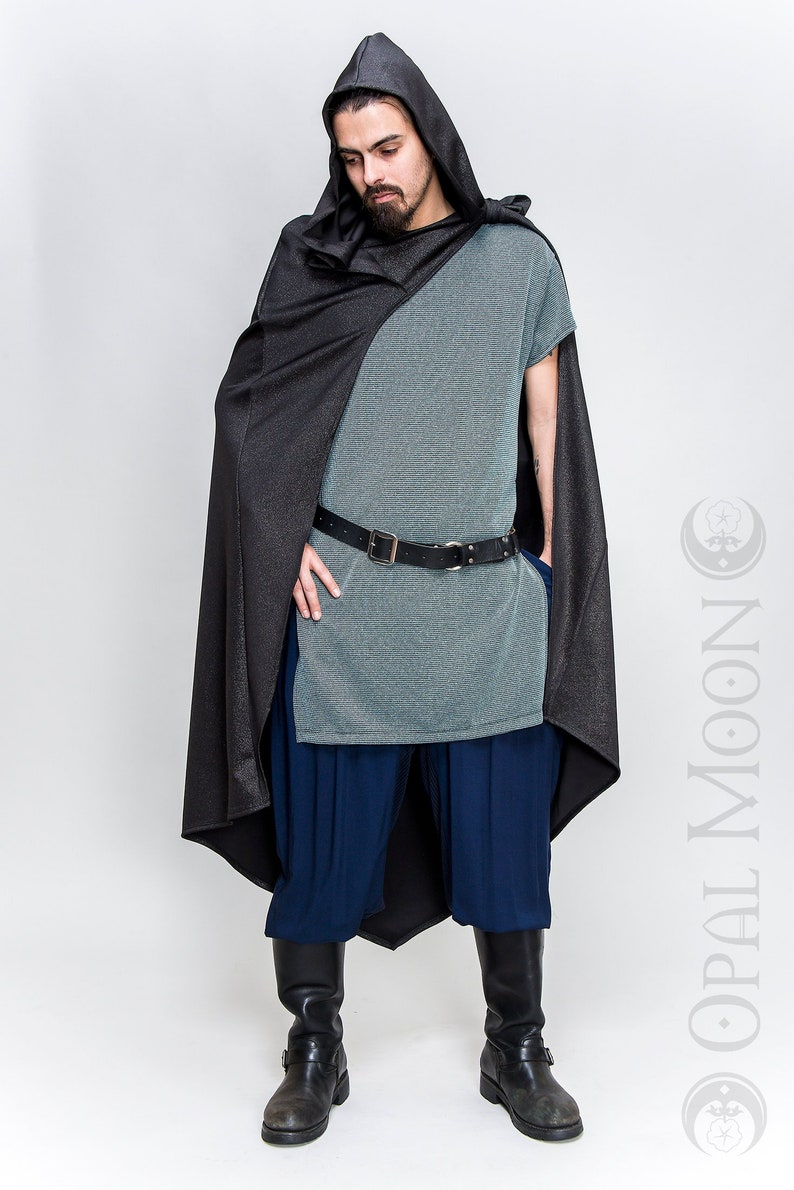 NEW FABRIC: Convertible Cape with Hood in Black and Silver image 0