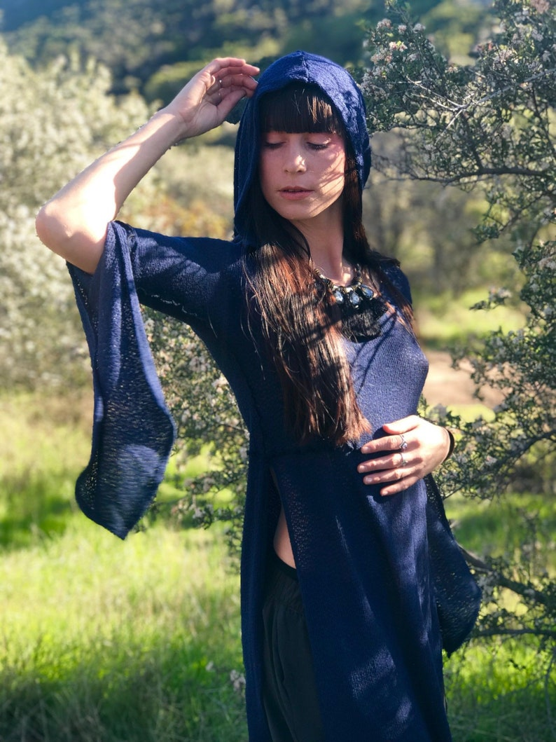 SALE Last One: The Hooded Tunic Top in Lapis Blue Sweater Knit image 0