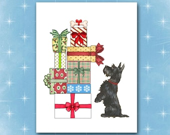 Scottie Christmas Card, Merry Xmas, Happy Holidays, 10 Cards, Scotch Terrier Gifts  Bone, Dog Greeting Card, Optional Name & Return Address