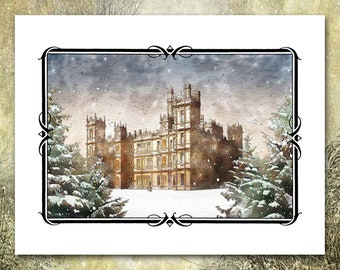 Set of Ten Blank Cards Downton Abbey Note Cards or Casual Invitations Downton Abbey Pastel Drawing Highclere Castle Grantham Crawley