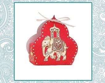 Elephant Favor Box / Red & Gold Indian Wedding Favor, Party Favor / Hindu God Ganesha / India Asian Bollywood / DIY Instant Download