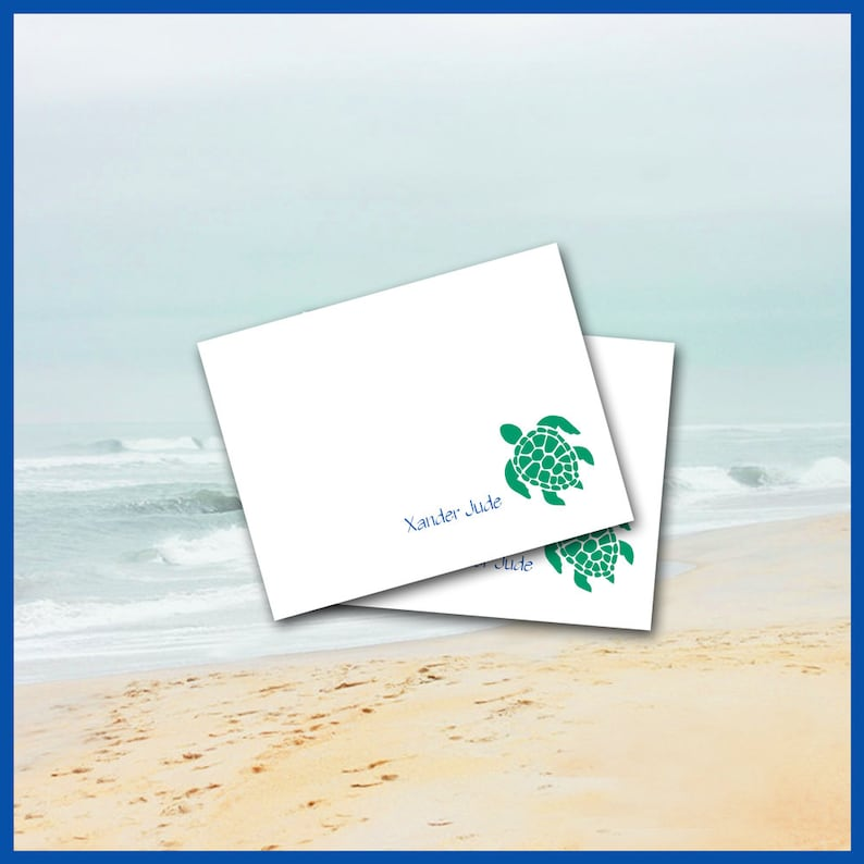 Sea Turtle Note Cards Personalized Stationery 10 Folded Cards Beach Sea Life Nautical Green Blue Thank You Wedding Made To Order
