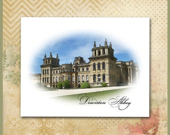Downton Abbey Note Cards or Invitations / Highclere Castle English Manor / Set of 10 / Stationery / Digital Watercolor / Grantham Crawley