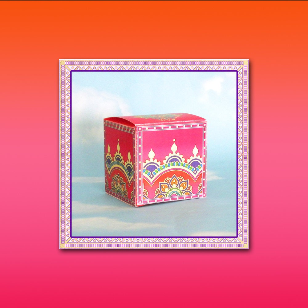 Indian Favor Box & Tag / Maticoor Sangeet / Moroccan Asian