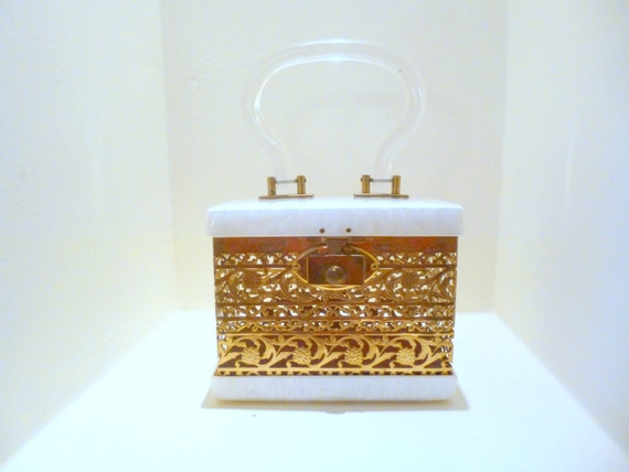Vintage  Lucite Purse, Dorset Rex Purse, 1950s Box